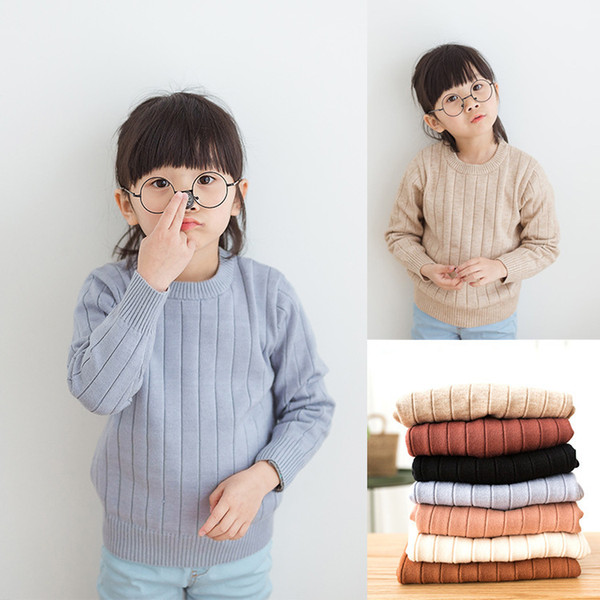 2019 Winter Baby Girls Sweaters Girl Long Sleeve Knitted Pullover Clothes Kids Ribbed Sweater Autumn Clothes for Girls Boys