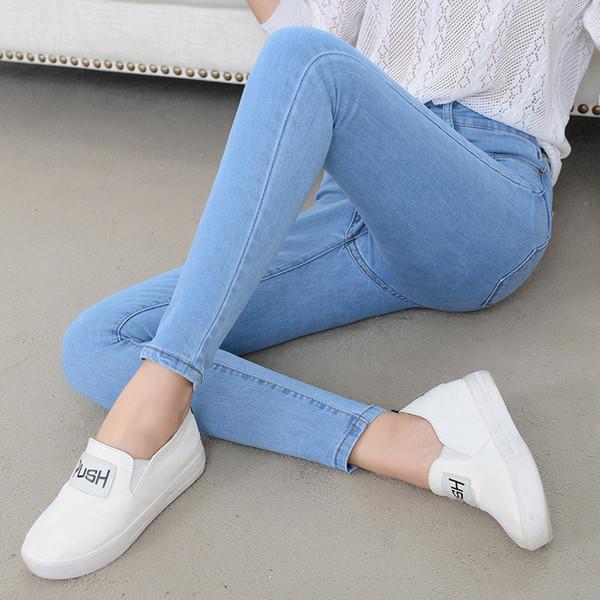 Primavera e estate Jeans coreani versatili a vita alta Pantaloni slim da donna elasticizzati a piedi sottili Pantaloni da bambina