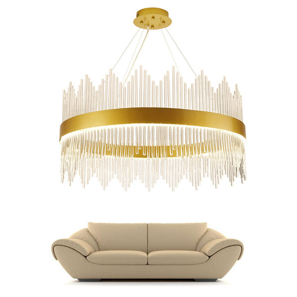 Modern Crystal Chandelier Round Luxury Dining Room Suspension Luminaire Home Decoration LED Hang Lighting Fixture