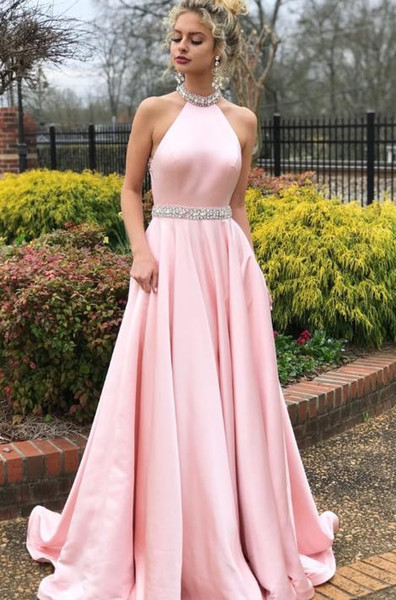 European and American new evening dress explosion models sleeveless hanging neck open back dress long skirt