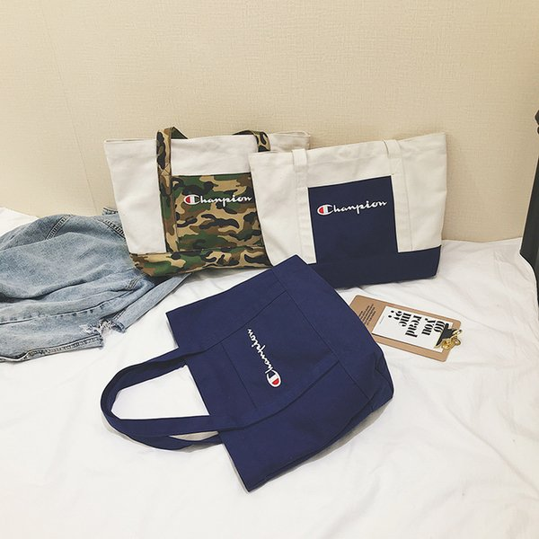 Women Handbag Champion Canvas Bag Purses Simple Style Shoulder Bag Large Capacity Handbag Fashion Casual Travel Shopping Bags C424