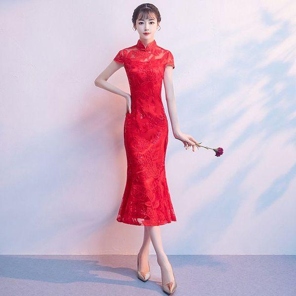 Chinese Red Bride Wedding Evening Party Dress Classic Women Elegant Mermaid Cheongsam Sexy Slim Lace Qipao Vestidos Size S-XXXL