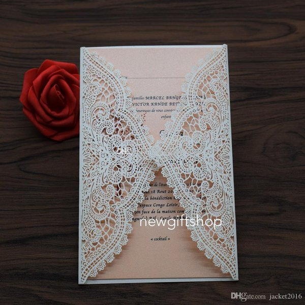 Laser Cut Wedding Invites 2019 Elegant Ivory Lace Flower Evening Dinner Invitation Party Invitation Cards with Envelope FREE PRINTING