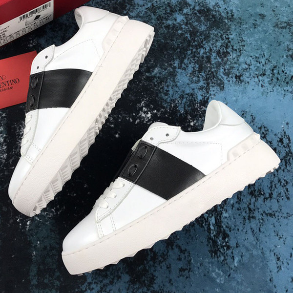 men shoes White leather Open sneaker with blue band NY0S0830 BLU G62 Trainers Sneakers Shoes With Box