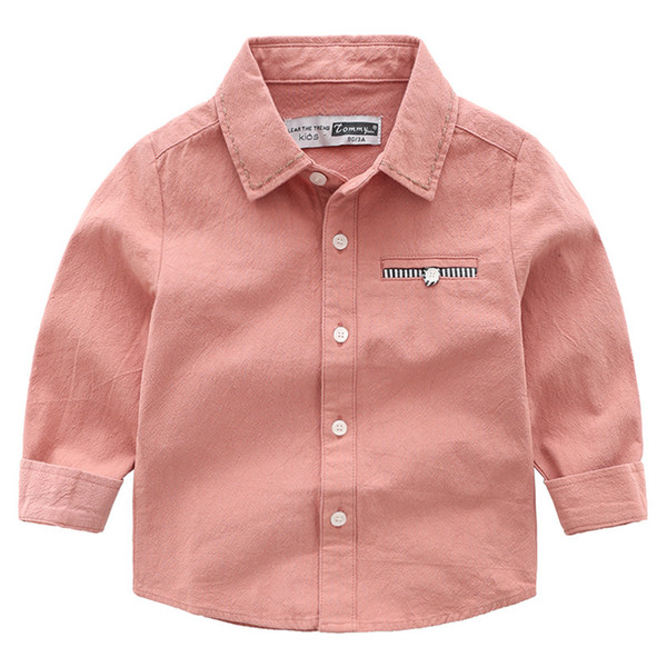 Spring Korean Version Of The Boutique Childrens Solid Color Cotton Long-sleeved Shirt With Boy Shirt