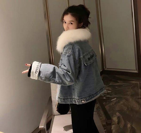 Повелительница женщин девушки девичьих конструктора полупальто Марка куртка Luxury Denim куртка меховой воротник съемный однобортный Стиль B103829Z01