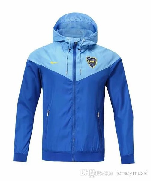 Top Boca Football Jacket 1819 Boca Hooded Jacket Sportswear Boca Training Football Windbreaker