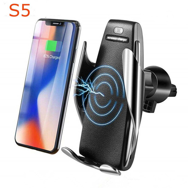 top popular S5 Wireless Car Charger 10W Automatic Clamping Fast Charging Phone 360 Degree Rotation in Car for iPhone Huawei Samsung Smart Phone 2021
