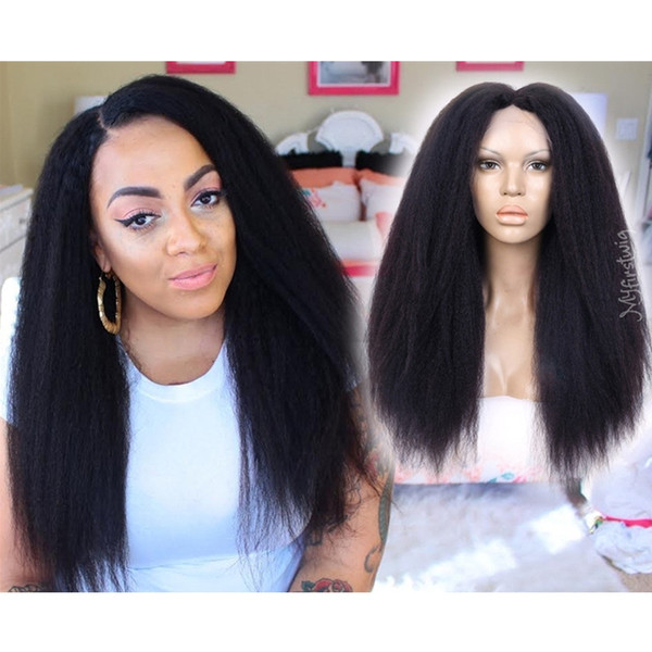 150% density Full Lace Human Hair Wigs Virgin Hair Yaki Straight Lace Front Wig Brazilian For Black Women pre-plucked with baby hair