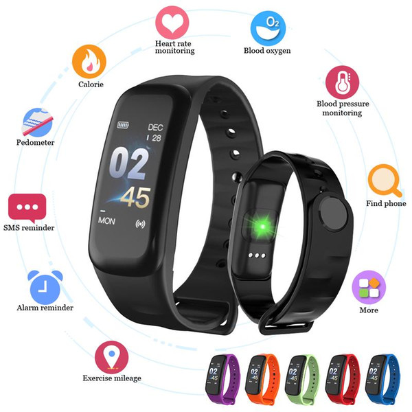 C1 smart bracelet Bluetooth sports watch blood pressure oxygen heart rate monitor belt fitness tracker color screen for ios Android