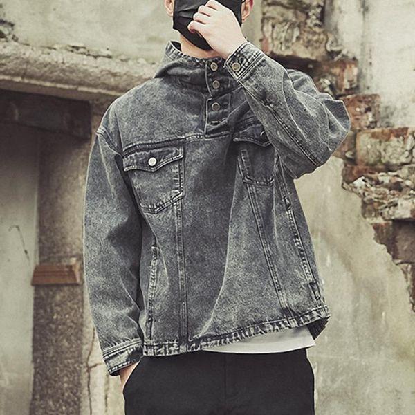 Chaqueta de mezclilla con capucha para hombres de moda Algodón retro Abrigo informal Lavado Bolsillos vintage Tamaño M-3XL