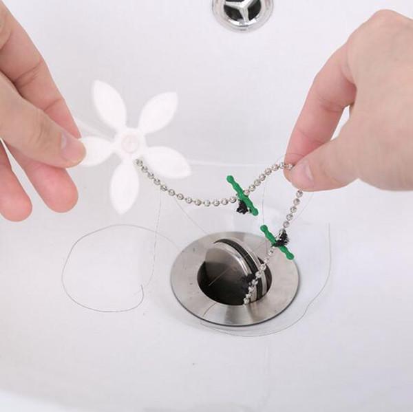 Flower Floor Drains Drain Sewer Tub Hair Clean Tool Chain Flower Drain Cleaner Bathroom Kitchen Clogging Tools YW103