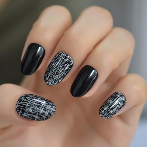 Fashion Silver Cross Rain Fake Nail Tips Black Full Cover Artificial 24pcs/kit Round False Press On Nails Free Adhesive Tabs