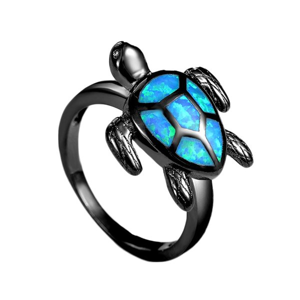 Unique Turtle Blue Opal Animal Rings For Women Wedding Band Fashion Jewelry Vintage Black Gold Filled Cocktail Rings
