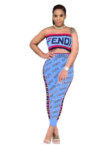 women designer two pieces set Sexy FD Digital printed ribbon wrapped chest Top And Skinny Pant Sweat Suits Two Piece Casual Tracksuit Plus
