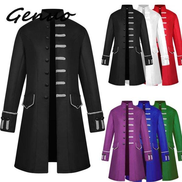Capispalla da uomo vintage Steampunk Colletto monopetto solido giacche gotiche uomo manica lunga abiti slim capispalla