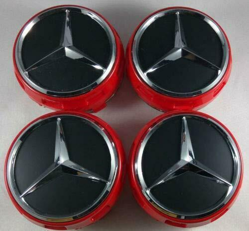 NEW 20PCS 75mm 3 INCH RED/BLACK AMG WHEEL BADGE CENTER CAPS FOR MERCEDES BENZ