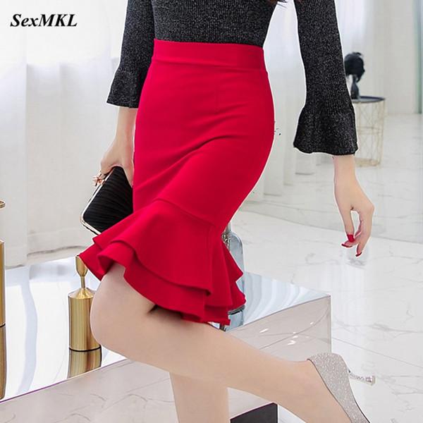SEXMKL Femmes coréenne Jupe crayon 2019 Fashion élégant taille haute jupe volantée Noir Bureau Sexy Ladies Plus Size Rouge Jupe