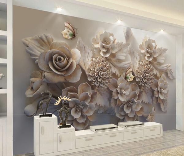 Großhandel Benutzerdefinierte 3D Tapete Schöne Dreidimensionale Relief 3D  Blume Schmetterling Wohnzimmer Schlafzimmer Hintergrund Wand Dekoration ...
