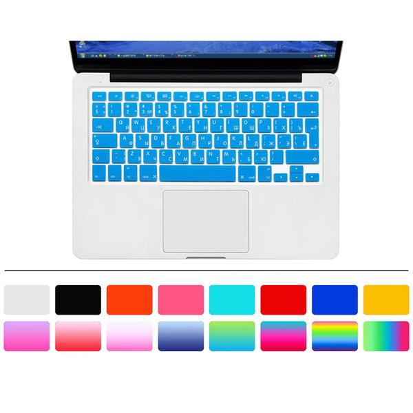 """Many colors Slim Russian EU Silicone Keyboard Cover Skin Protector for Mac Book Pro """" 15"""" 17""""Old Release Before 2016"""