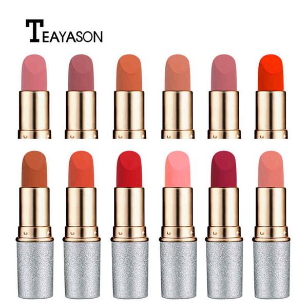 DHL 120 PCS/LOT TEAYASON brand makeup Bullet matte lipstick is now popular pumpkin color nude color waterproof long-lasting lipstick