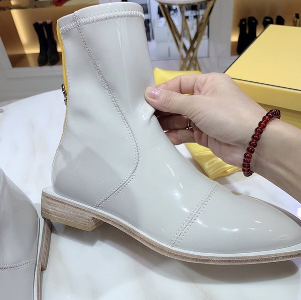 2019 fashion luxury boots platform ankle designer shoes high quality genuine leather ladides winter red/brown/white warm boots for shipping