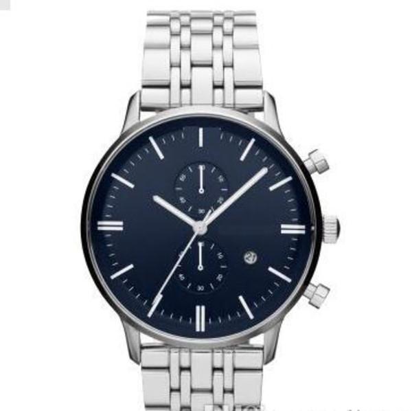 Klasik moda Erkekler mavi kadran paslanmaz çelik izlemek Lüks tasarımcı AR1648 kuvars 43mm montres Hommes Yüksek kalite dökmek saatler saatler