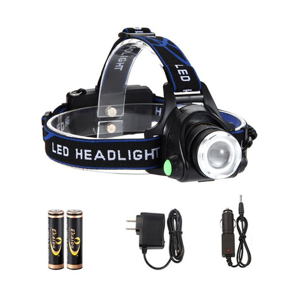 Headlamps XM-L T6 LED 1800lm Head Lamp High Power led Headlamps Head Torch Lamp Flashlights with 2pcs 18650 Battery Charger Car Charger