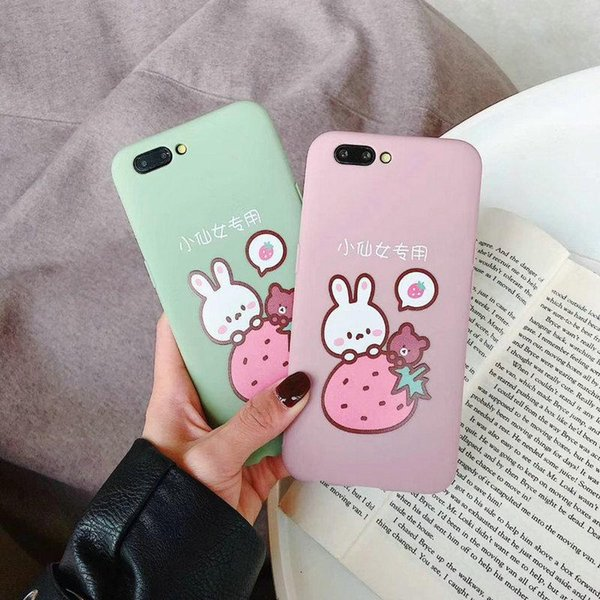 Niedlichen cartoon erdbeer kaninchen telefon case für iphone xs max xr 7 plus 8 8 plus 6 6 plus tpu silikon soft shell