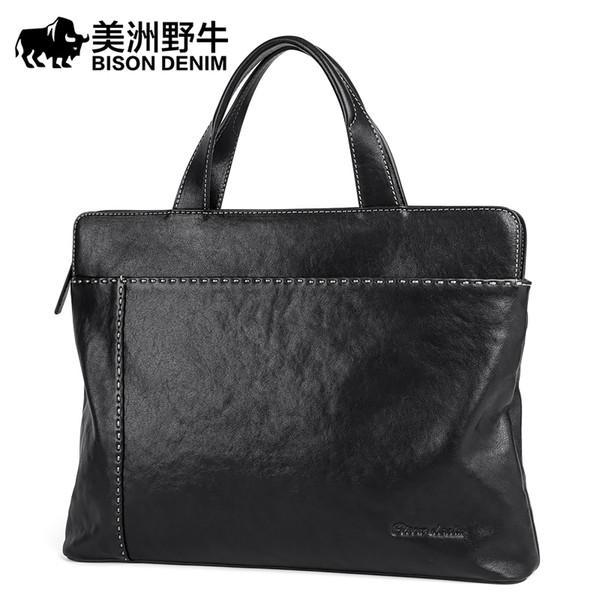 BISON DENIM сумки Мужские сумки на ремне из натуральной кожи портфель COWHIDE Сумка мужская Business Travel Laptop Bag
