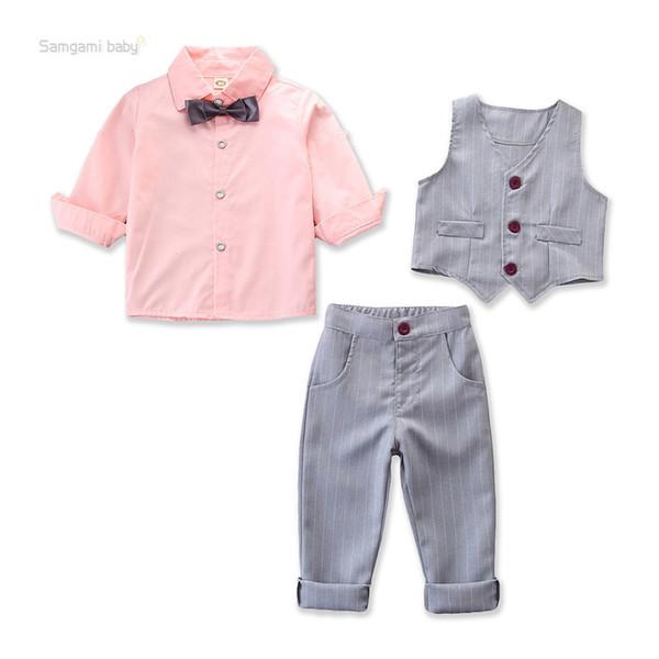 Bébé Garçons Enfants Monsieur Costume Jarretelles Pantalon Vêtements Ensembles Enfants Outfit Holiday Wear Retail