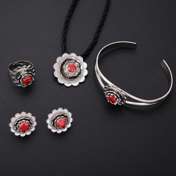Trendy Women Wedding Jewelry Necklace Bracelet Earring Ring Silver Bridal Flower Turkey Egypt Jewelry Set