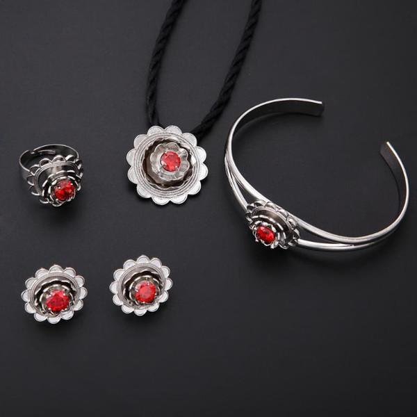 Trendy donne monili di nozze insieme Gioielli Collana Anello del braccialetto d'argento nuziale Fiore Turchia Egitto