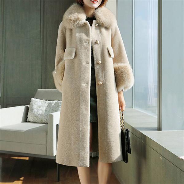 2019 Autumn Winter Women Natural Sheep Shearing Fur Jacket Real Fox Large Fur Collar 100% Wool Outwear Thick Warm Coat A42