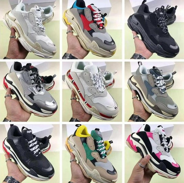 hot best Casual shdesigner Paris 17FW Triple s Sneakers for men women black red white Triple-s Casual Dad Shoes tennis increasing shoe 36-45