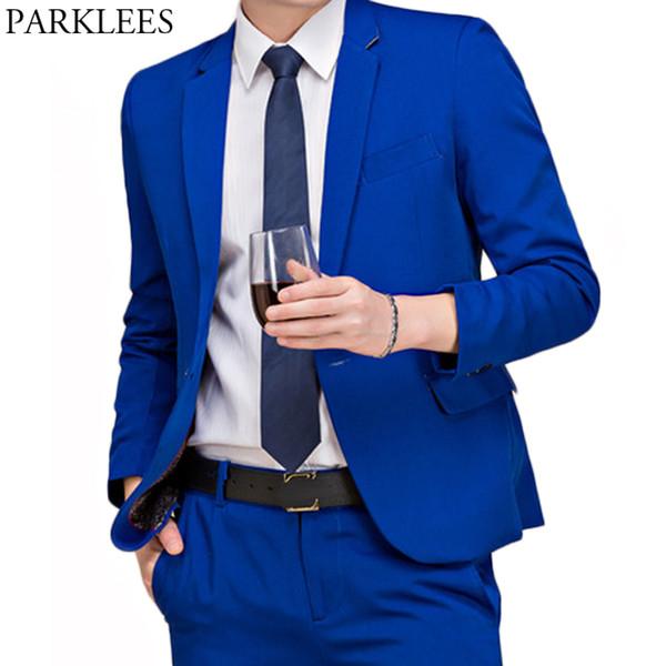 (Jackets+Pants) Mens 2 Piece Solid Dress Suit Casual Fit Notched Lapel Royal Blue Suits Work Wedding Singer Party Costumes Homme