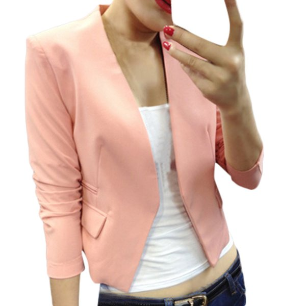 Hot Fashion Jacket Blazer Women Suit Foldable Long Sleeves Lapel Coat Candy Color Casual Blazer Single Button Blazers Jackets