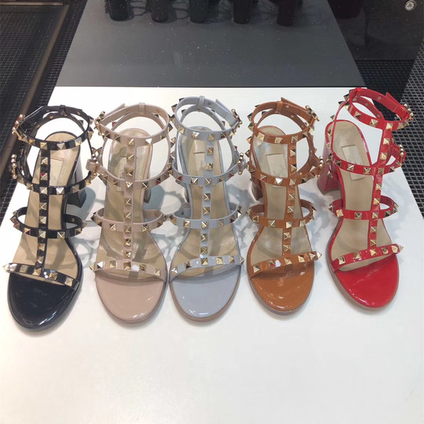 best selling 2020 Luxury Designer Fashion Stud Sandals Genuine Leather Slingback Pumps Ladies Sexy High Heels Fashion Rivets Shoe Party High Heel 6.5 9.5