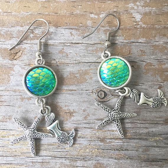 Starfish Mermaid Earrings Jewelry Fish Scale Sequin Drop/Dangle Earrings Women Vintage Silver Fantasy Ocean Valentine's Day Gifts