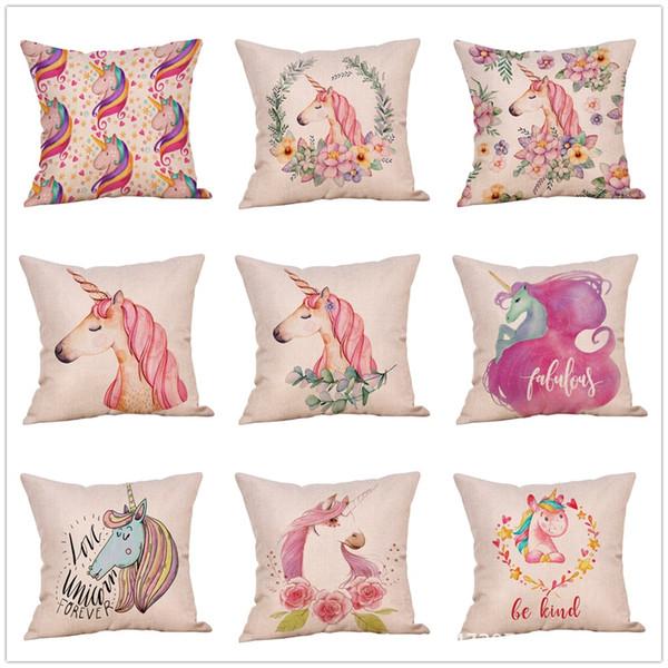 9 styles Licorne taie d'oreiller de bande dessinée imprimé animal floral taie d'oreiller oreiller coussin maison voiture décor faveur parti 45 * 45 cm FFA1815
