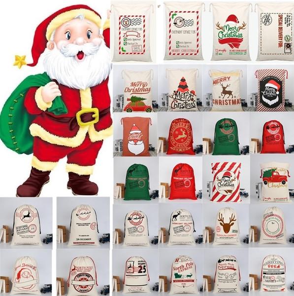 best selling 36style Drawstring Bag Christmas bags Halloween Canvas Santa Sack Bags Santa Claus Cute Deer Ornament Christmas Decorations Canvas gift bags