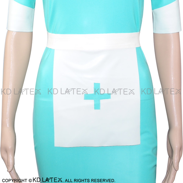 White With Lake blue Cross Fetish Sexy Nurse Latex Apron Rubber costume Accessories With Belts Hot Sales SEX-0024