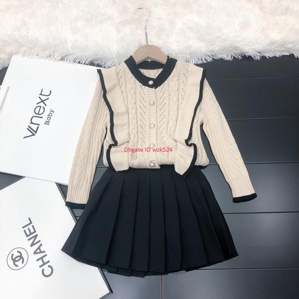 Conjuntos de cárdigan para niñas ropa de diseñador para niños Cárdigan de algodón de punto con volantes + falda plisada Conjuntos de falda de otoño dulce y encantador