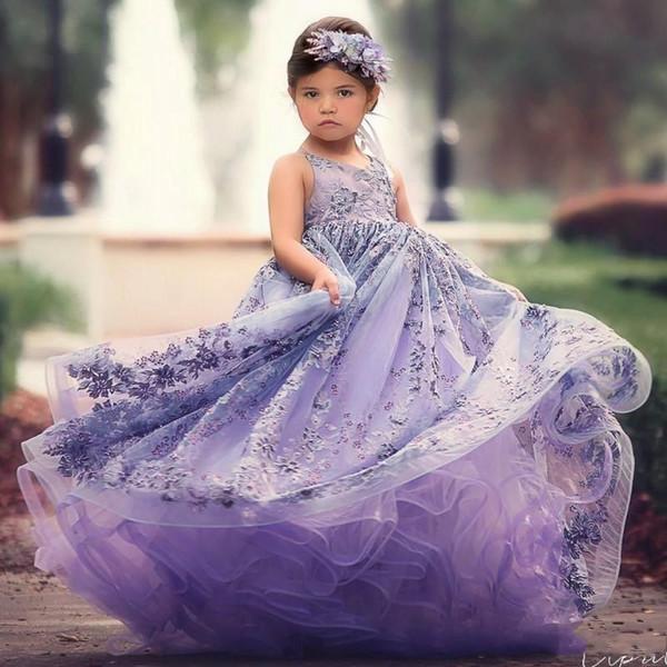 Abbastanza fiori di lavanda abito di sfera ragazza abiti in rilievo scollo a V backless toddler pageant abiti tulle sweep treno bambini vestito da promenade BC0747
