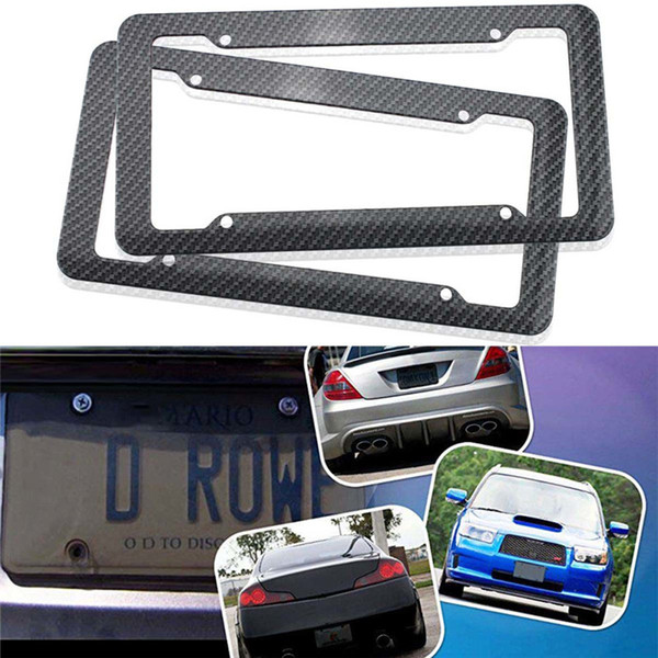 Carbon Fiber Painted Twill Style License Plate Frame Car Licence Plate Covers Slim Design Shiny Surface For US Vehicles