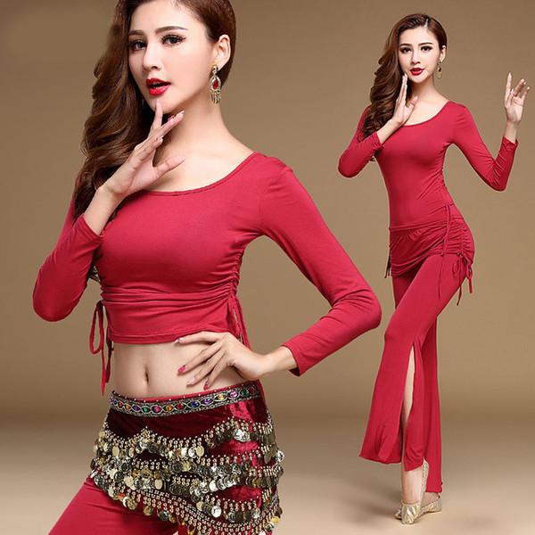 Bauchtanz Kostüm Set Frauen für Performance Bollywood Wettbewerb Sexy Pailletten Tops Indien Flamenco Salsa Oriental Bellydance