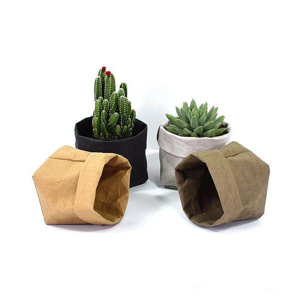 Foldable Pots Kraft Paper Flowerpot Waterproof 4 colors Environmental Protection Planters storage bag Mini Garden Vegetable pouch Free Ship