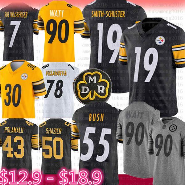 Pittsburgh Jersey Steelers 19 Juju Smith-Schuster 90 T.J. Watt Bettis, 55 Devin, Bush, Conner, Polamalu, Ryan Shazier, Roethlisberger, Villanueva