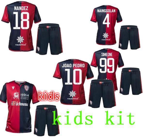 Les enfants de haute qualité 19 20 maillots de football Cagliari Calcio 2019 2020 Kallithea chemises de football à domicile