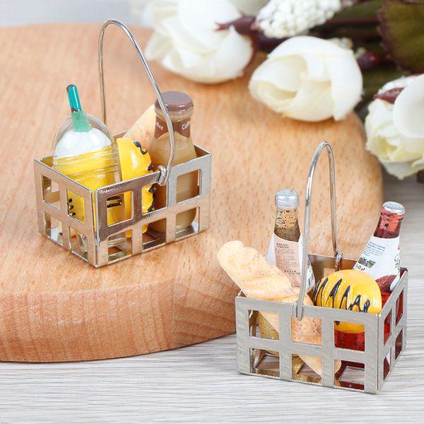 5шт 1:12 ужин фрукты металл кофе вино хлеб молоко корзина игрушка Кукольный дом кукольный домик миниатюрные аксессуары